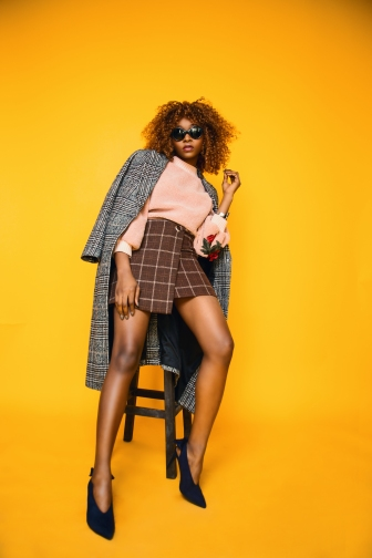 Checked Fur Coat Magazine Image